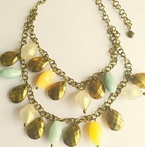 Premier Designs Beaded White Blue Yellow Necklace